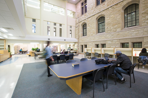 Tables and study carrels in the Science library, ground floor.