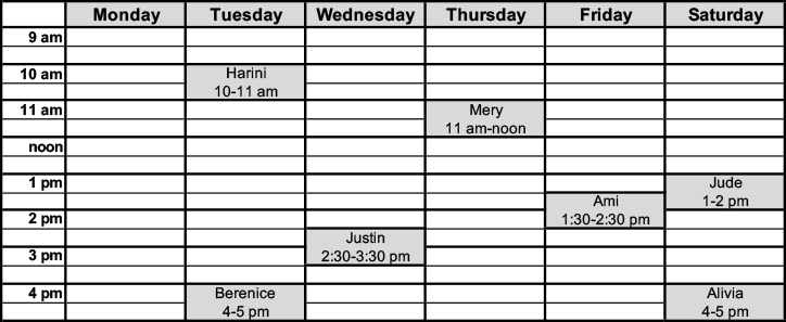 schedule for appointments