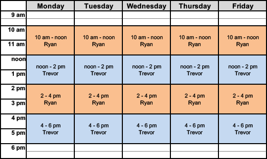 math tutor schedule